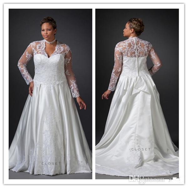 Full Figure Wedding Dresses Plus Size Satin With Lace V Neck Long