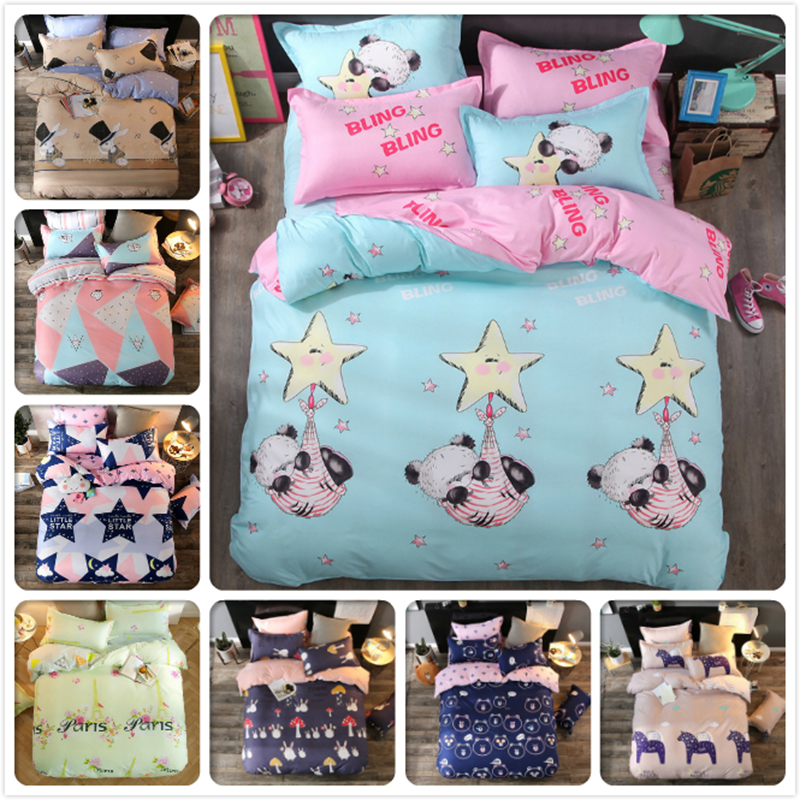 New Bed Linen Kids 3/4 pcs Bedding Set 4/5/6 feet Bedsheet 1.2m 1.5m 1.8m 2m Queen Twin Double Single Size Duvet Cover Bedspread