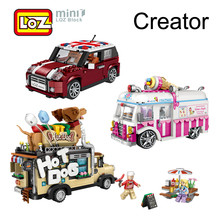 LOZ Blocks Ice Cream Truck Mini Cooper Car Toy Figurines Not Compatible Legoing Creator Technic Minifigures Series Gift For Girl(China)