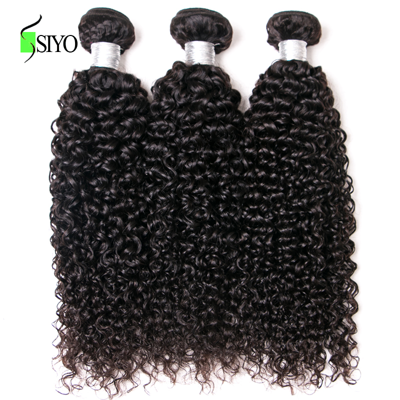 SIYO Hair 3 Bundles Deals Peruvian Kinky Curly Human Hair Weave Bundles 8-26 Inch Hair Extensions non Remy Hair Weaving