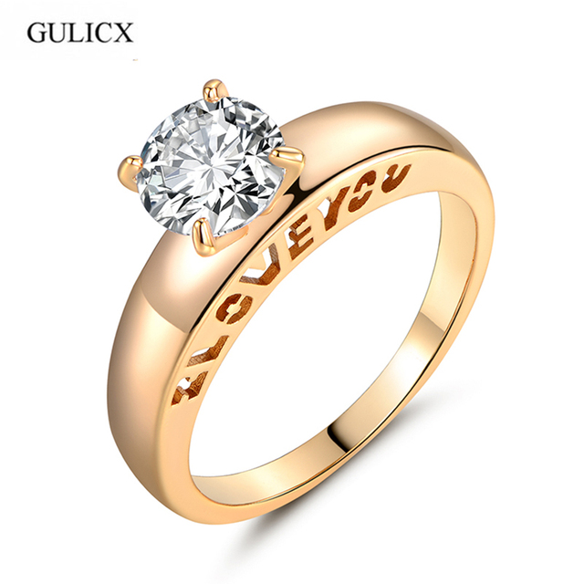 GULICX I LOVE YOU Fashion Unique Ring Gold-color Ring with box Round Crystal Zironia Love Engagement Ring For Women R127