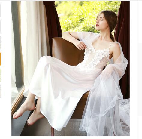 038dfd617bc74 White Black Women Deep V Lace Silk Satin Lingerie Wedding Long Night ...