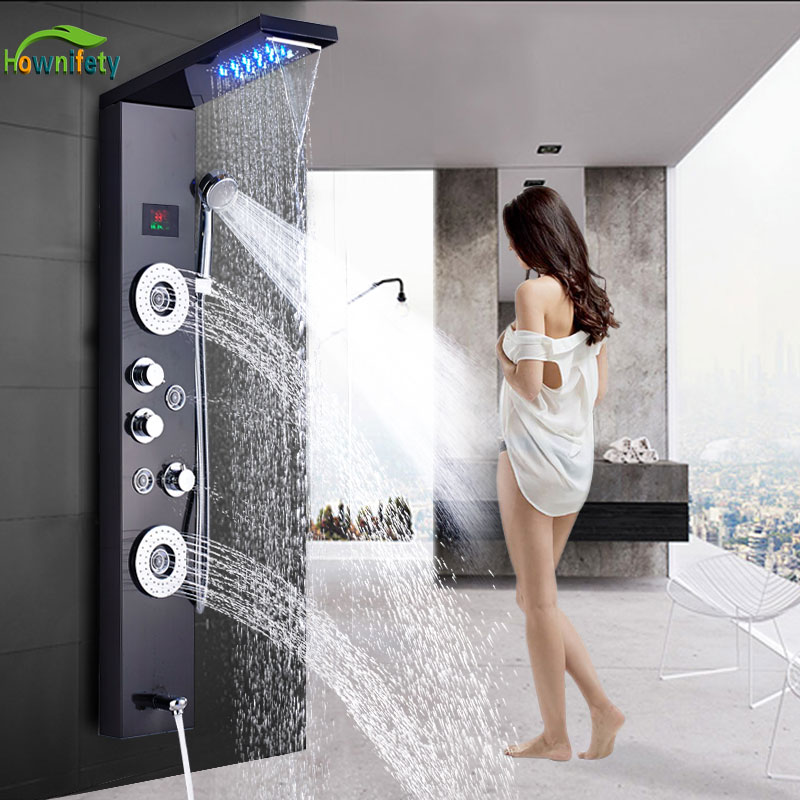 Luxury ORB/Brushed/Golde  Shower Column Faucet Led Light Bathroom Bath Shower System SPA Massage Sprayer Temperature Screen Show(China)