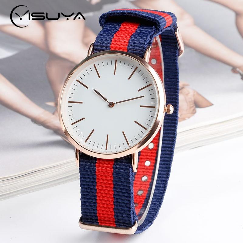 YISUYA Minimalist Blue & Red Stripe Nylon Strap Simple Fashion Casual Student Sport Quartz Wrist Watch Men Women Clock Bracelet survival nylon bracelet brown