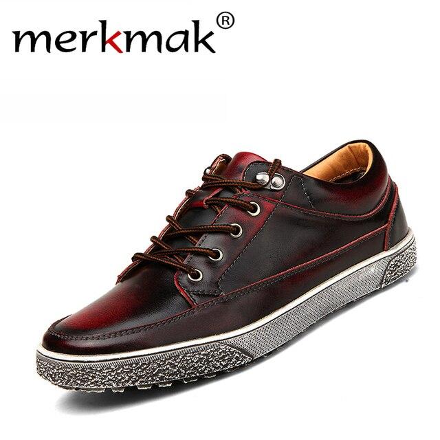 Venta caliente de alta Calidad de los hombres zapatos de cuero genuino de la vendimia lavado apenada de los hombres planos de la manera atan para arriba los zapatos masculinos ocasionales calzado