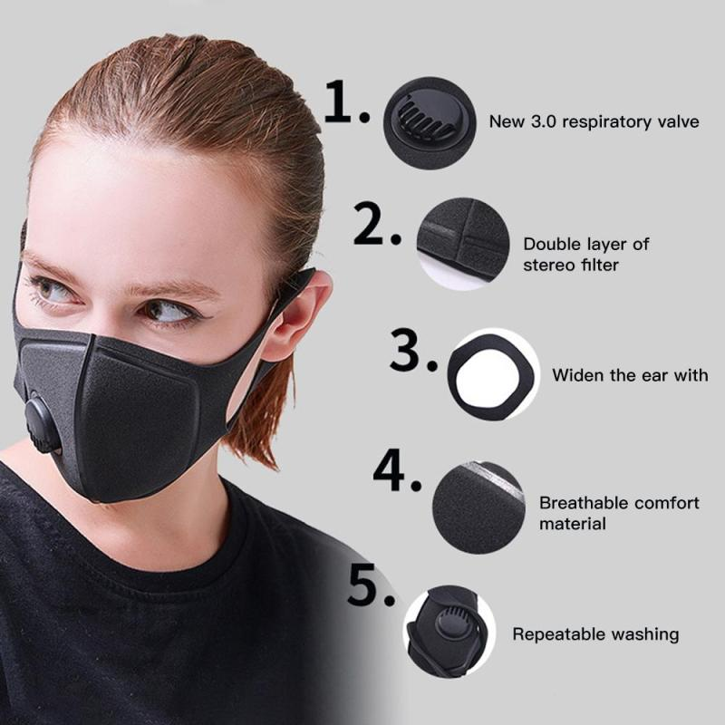 цена на 1Pcs face Mask Dust Mask Anti Pollution Mask PM2.5 Activated Carbon Filter Insert Can Be Washed Reusable mouth Masks U2