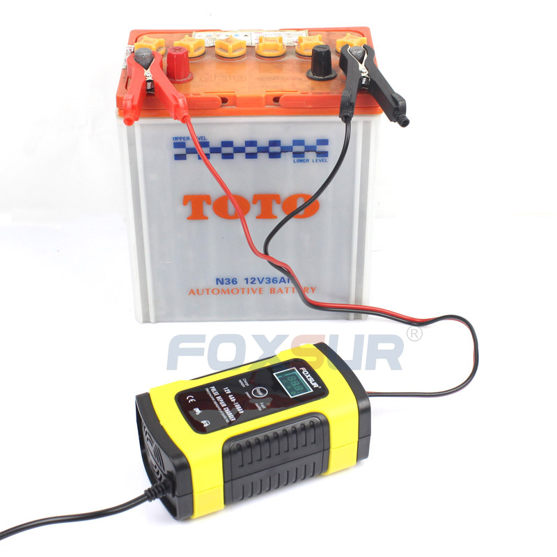 lowest price FOXSUR 12V 5A Motorcycle Car Battery Charger Maintainer  amp  Desulfator Smart Battery Charger Pulse Repair Charger LCD Display