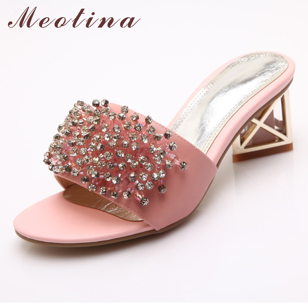 Meotina Fashion Women Sandals Natural Genuine Leather Open Toe Slippers  Thick Low Heels Female Crystal White 424e10f6d746