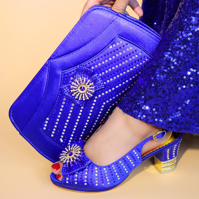 Beautiful Royal Blue Wemon Shoes Matching Handbag Set With Bowtie Rhinestone for African Shoes And Bag Set For Dress V5683-1