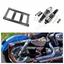 Papanda Motorcycle Chrome Steel Slammer Lowering Kit 10.5 Shock Absorbers for Harley Dyna Sturgis Daytona Super Glide 1991-2005