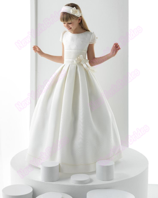 950098ed458 2018 First Communion Dresses Floor Length Sleeve White Peals Cap Sleeve  Cute Custom Made holy communion dress Promotions