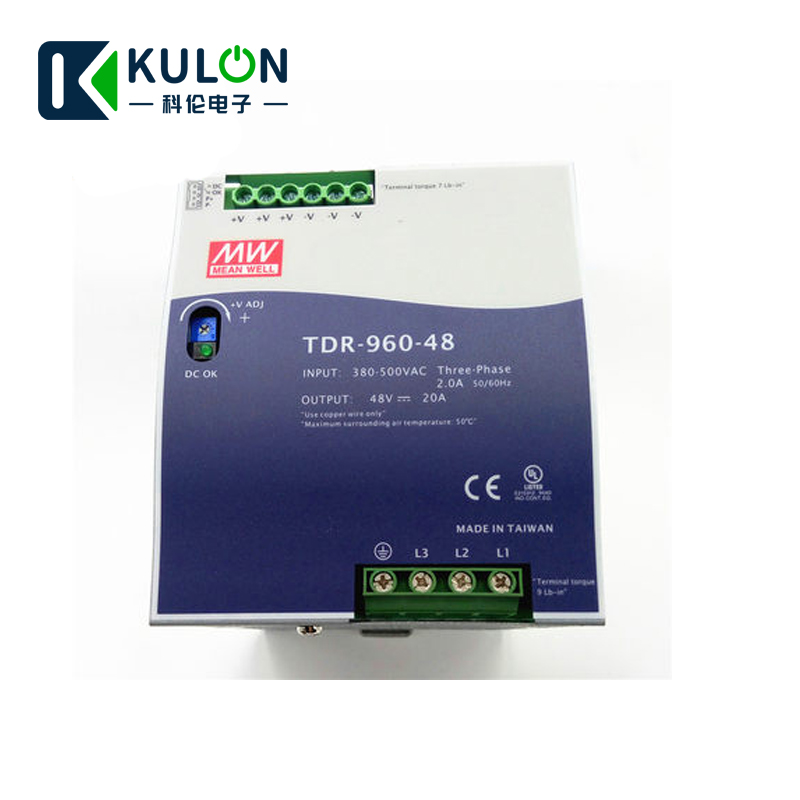 MEANWELL TDR 960 48 340 550VAC wide range input to DC three Phase Industrial DIN RAIL switching power supply 960W 48V 20A