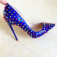 Hot Selling Royal Blue Patent Leather Colorful Rivets Studded High Heel Shoes Pointed Toe Sexy Woman Shoe Party Heels