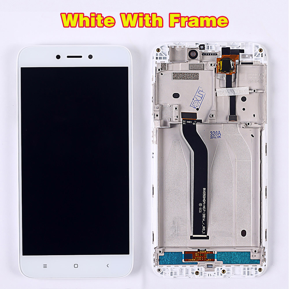 HTB1KfnoUkvoK1RjSZFwq6AiCFXaQ 100% Tested LCD Display For Xiaomi Redmi 5A 5.0 inch Digitizer Sensor Glass Assembly touch screen frame with Free Tempered Glass