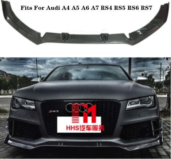 Lèvre de pare-chocs avant de voiture en Fiber de carbone, diffuseur avant de voiture 5 pièces/ensemble pour Audi A7 S7 RS7 2012 2013 2014 2015 2016 2017