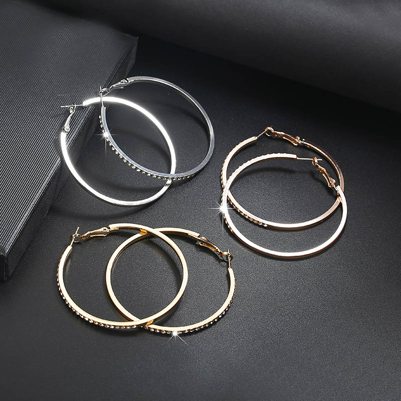 HTB1KfnvXvfsK1RjSszbq6AqBXXaa - 2018 Fashion Hoop Earrings With Rhinestone Circle Earrings Simple Earrings Big Circle Gold Color Loop Earrings For Women
