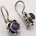 Pure Silver AMETHYST Handmade Earrings 3/4 inches OXIDIZED INDIAN JEWELRY