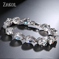 ZAKOL 6 Color Option Fashion Female Exquisite Micro Inlay Small Stone in Prong Setting Pear Shape CZ Bracelets FSBP055