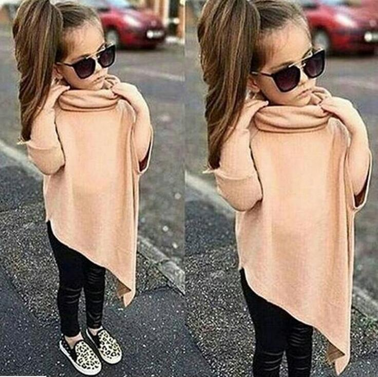 Turtleneck irregular pullovers cotton blouse in autumn of 2018 children from girl girl pure cotton fleece euramerican s