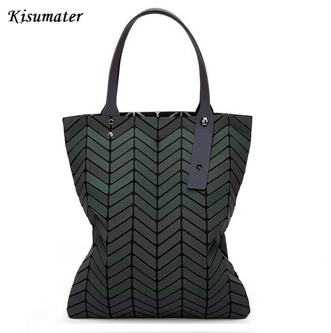 Kisumater New bag-women Luminous Bag Geometry Diamond Tote Shoulder Bags  Handbags famous logo bag Noctilucent Free Shipping