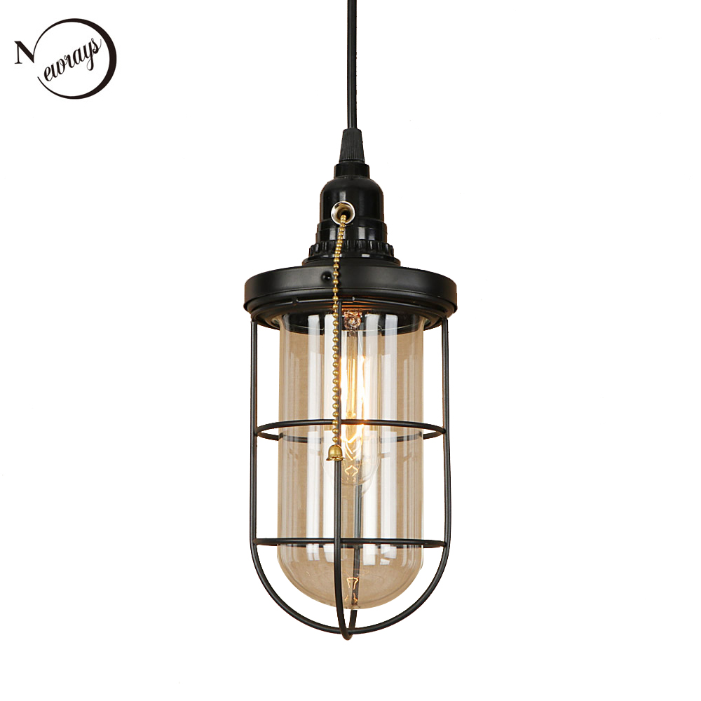 Industrial Iron Glass Pendant Light LED E27 Simple Vintage Hanging Lamp With Switch For Living Room Restaurant Bedroom Hotel Bar