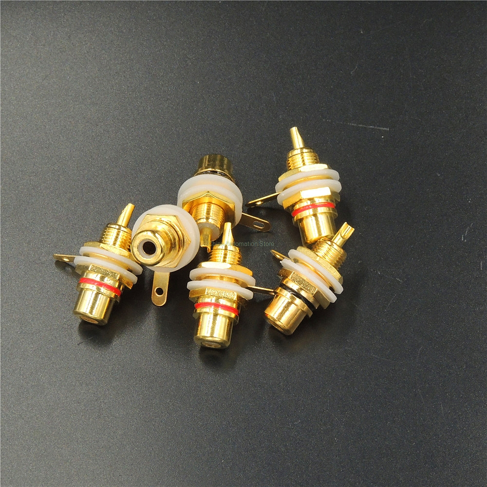 RCA Female Jack 10pcs Plated Rca Connector Gold Panel Mount Chassis Audio Socket Plug Bulkhead white cycle with nut solder cup 10x rf adapter connector sma female panel mount with nut bulkhead handle solder