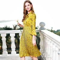 Vintage szyfonu plisowana sukienka new 2018 wiosna flary rękawem wydrukuj floral mody pani urząd huśtawka sukienka vestidos wysokiej klasy