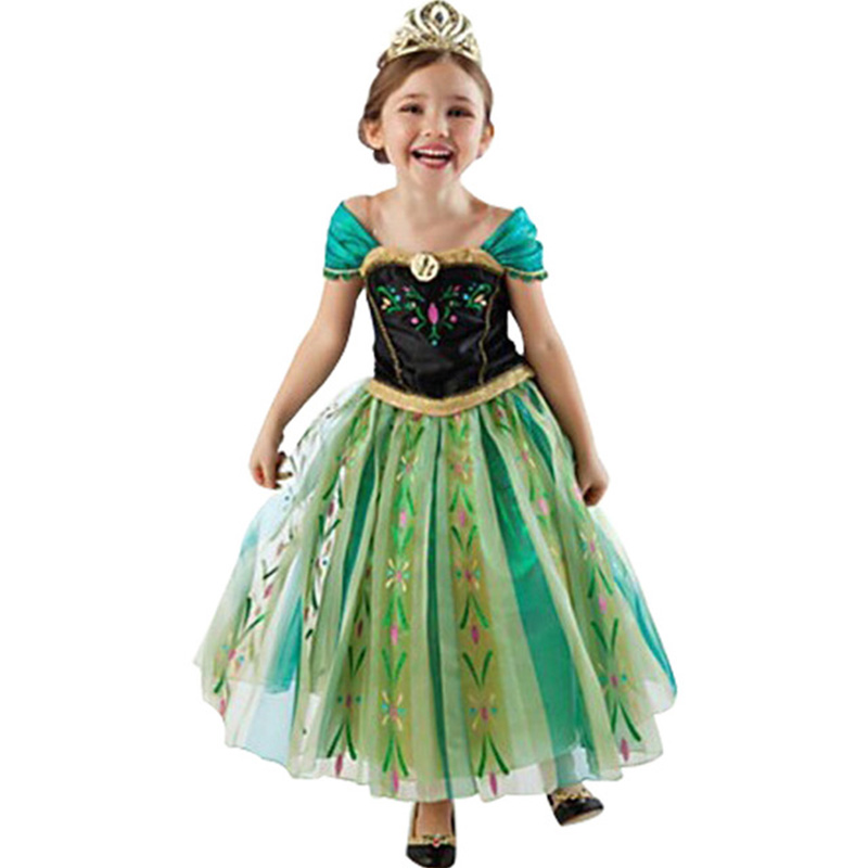 Girls Dress Cartoon Cosplay Snow Queen Dresses Princess Elsa Dresses From Anna Costume Baby Children Clothes Children Clothing(China)