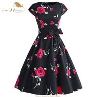 SISHION Women Dress O Neck Elegant Black With Red Rose Print Tunic Casual Vestido Vintage Party