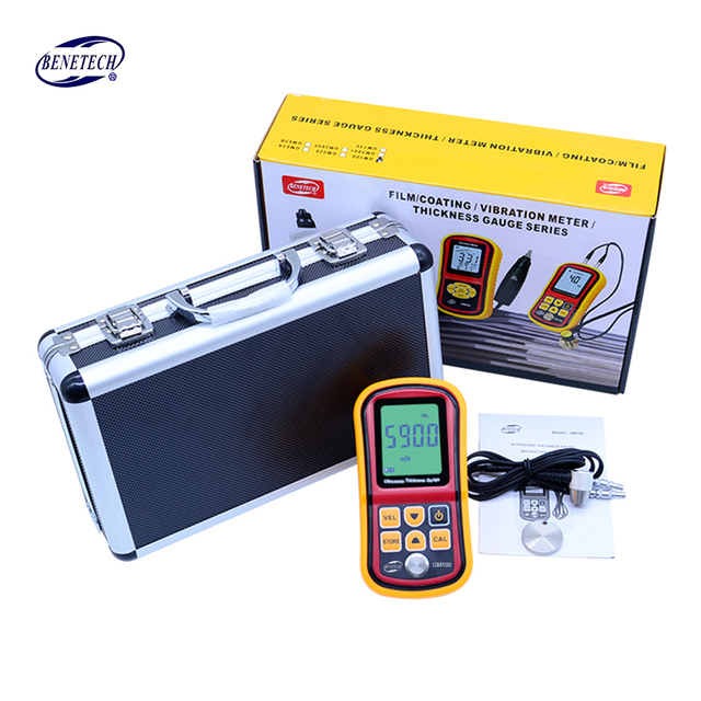 Benetech Ultrasonic thickness gauge GM100 1.2-225mm(Steel) Digital LCD Ultrasonic Thickness Meter Tester Gauge 0.1mm Resolution