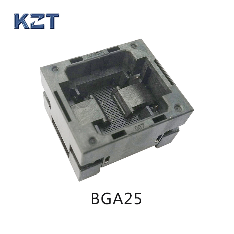 BGA25 OPEN TOP burn in socket pitch 0.8mm IC size 5*5mm BGA25(5*5)-0.8-TP01NT BGA25 VFBGA25 burn in programmer socket bga80 open top burn in socket pitch 0 8mm ic size 7 9mm bga80 7 9 0 8 tp01nt bga80 vfbga80 burn in programmer socket