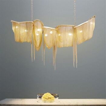 Nordic Art Decor aluminium LED żyrandol salon restauracja Hotel Lobby oświetlenie lampy wiszące metalowe Fringe kuchnia oprawa