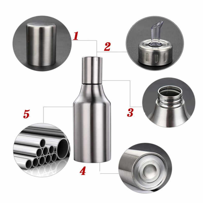 1 Pcs Stainless Steel Anti Bocor Kapal Tangki Kedelai Botol Saus Rempah-rempah Jar Persediaan Dapur Botol Minyak Botol Cuka Cruet