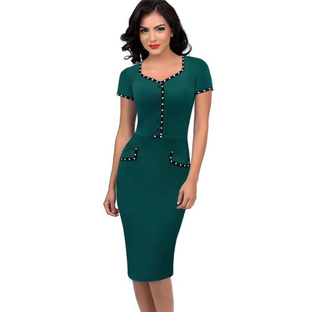 a47eb185ecf9 2017 New Womens Brief Elegant Vintage Retro Pinup Tunic Wear to Work Office  Business Casual Party Pencil Sheath Bodycon Dress