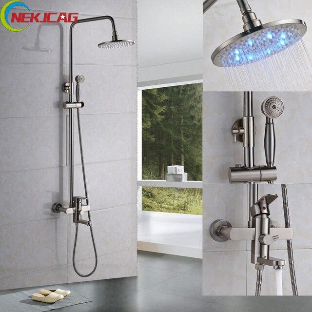 led dusche wasserhahn chrom finish regendusche set mit messing handbrause mischbatterie fr bad - Regendusche Set
