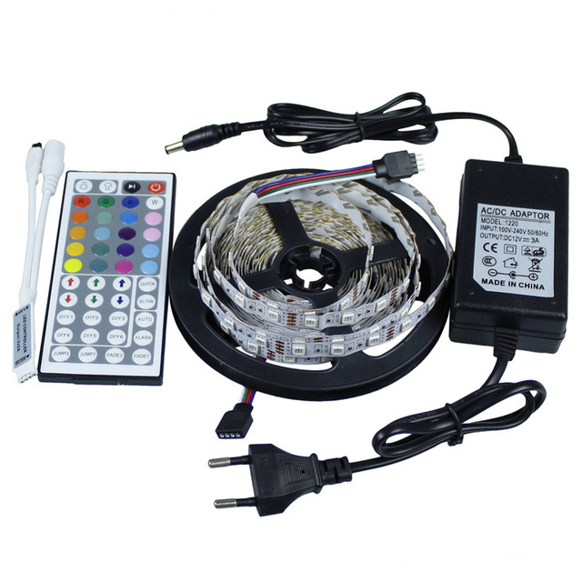 5050 RGB led flexible strip+Mini 44 key IR remote controller +12V3A EU/US power supply Non-waterproof 300 leds Free shipping