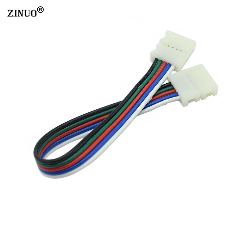 ZINUO 5pcs/Lot 10mm 5pin RGBW LED Strip Connector Cable solderless 5pin clip connector adapter with cable for RGBWW led strip b 5pcs lot 10mm 5pin rgbw l type x type t shape no soldering connector for 5050 rgbw rgbww led strip 5pin rgbw connector