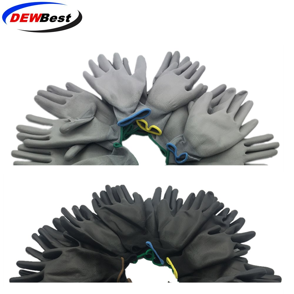 Dewbest Protective-Gloves Working Nylon Women Polyester Blue Flexible 12pairs
