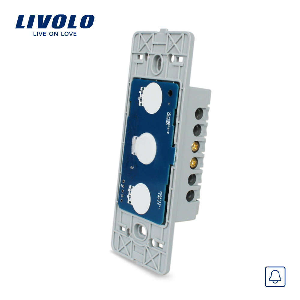 Livolo US Standard Base Of Touch Screen Wall Door Bell Switch, AC 110~250V, without glass panel, VL-C501B livolo us standard base of wall light touch screen remote switch ac 110 250v 3gang 2way without glass panel vl c503sr