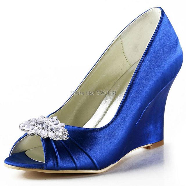 e860801a4ece EEP2009AW Women Wedding Wedges High Heel Royal Blue Ivory Peep Toe Clips  Pumps Satin Lady Prom