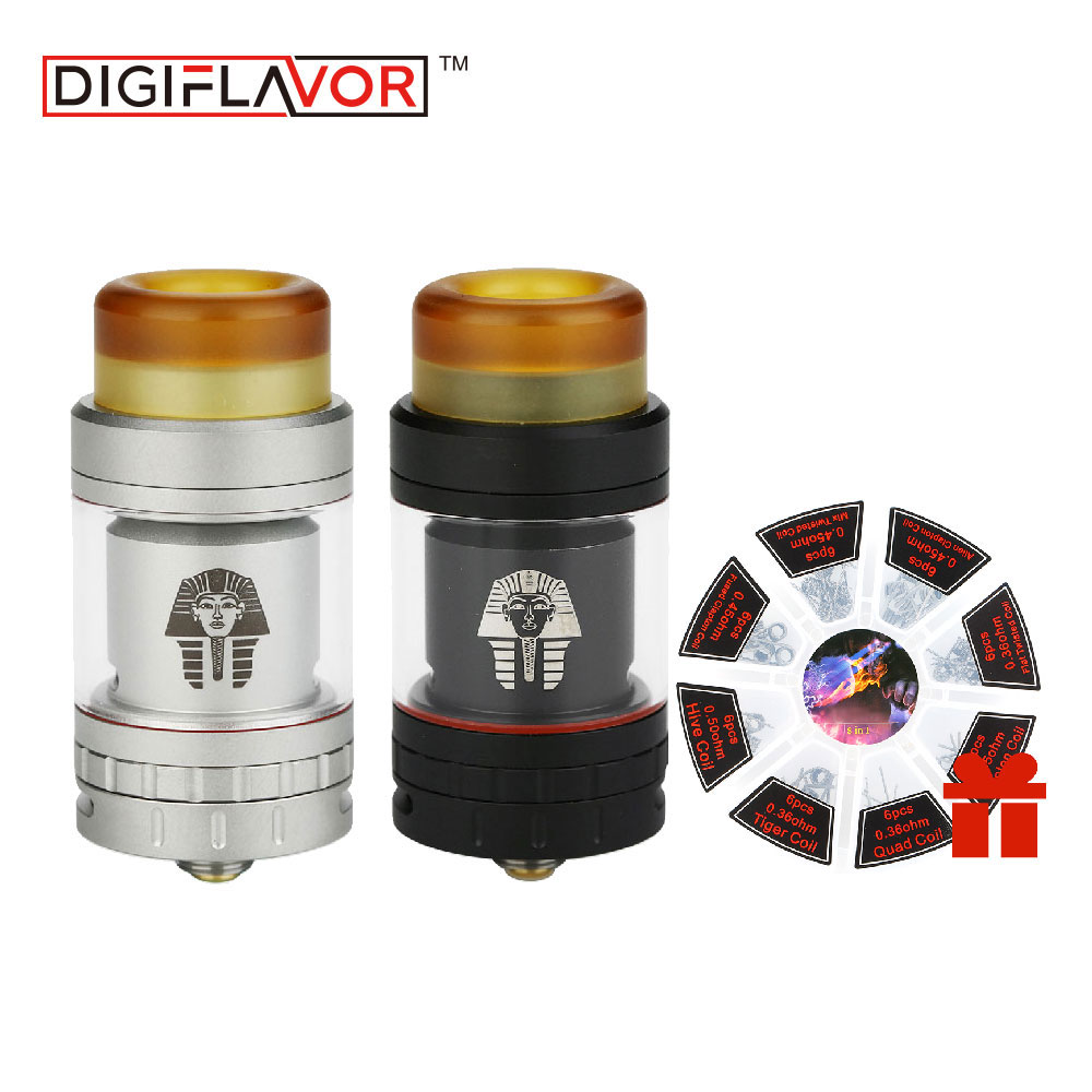 Digiflavor Pharaoh Mini RTA Atomizer 2ml Extend To 5ml Tank 24mm Diameter with gift 8 in 1 coil set for DIY MOD Vapors