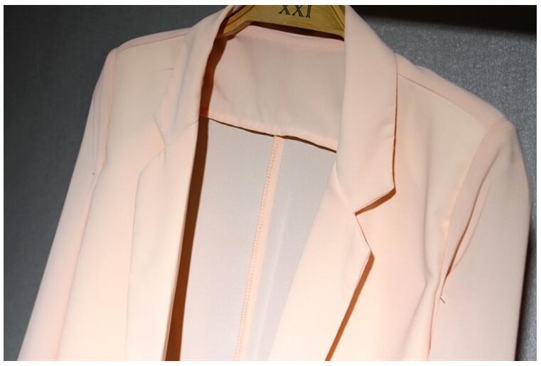 Long Blazer Women Plus Size Chiffon Candy Color 2017 new Blazer Feminino Casual V-neck Three Quarter Solid Korean Style Thin Hot