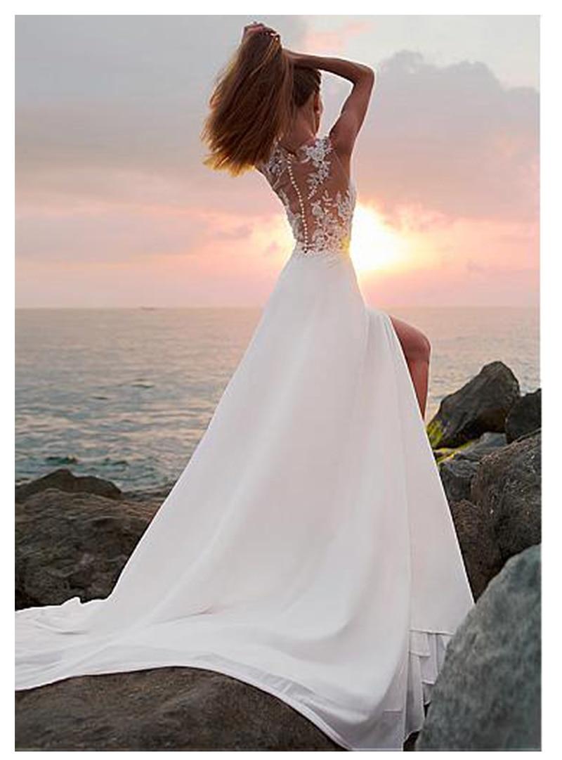 LORIE Boho Wedding Dress A Line Appliques Chiffon Bride Dress Side Split Floor Length Wedding Gown Free Shipping 2019 in Wedding Dresses from Weddings Events