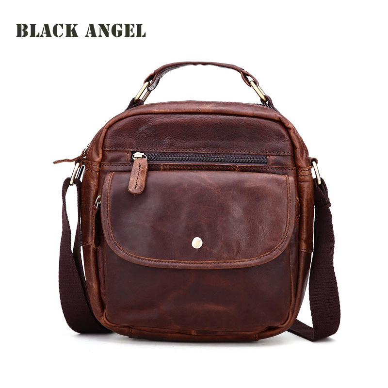 Vintage Genuine Leather Messenger bag Casual Men crossbody shoulder bags Small Flap High Quality Male Handbags men crossbody bag messenger shoulder handbags cowhide genuine leather casual business satchel mens bags for male high quality