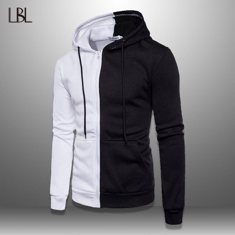LBL Patchwork Hoodie Men 2019 Casual Hooded Sweatshirt Male Autumn Spring Mens Pullover Hoody Sportswear Tracksuit Zipper Jacket
