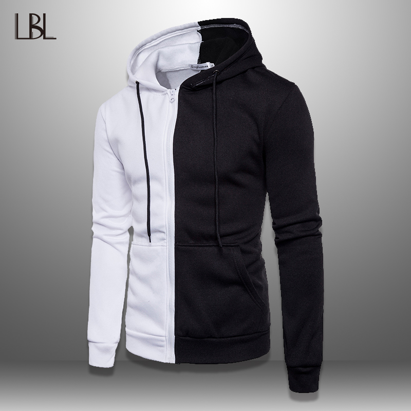 LBL Patchwork Hoodie Men 2019 Casual Hooded Sweatshirt Male Autumn Spring Mens Pullover Hoody Sportswear Tracksuit Zipper Jacket