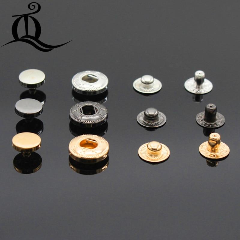 40 Snap Closing Buttons Press Fastening Dress Making Metal Button Black Silver