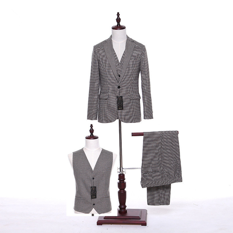 New Men's Suit Gray Red Black Checkered Lapel Single-breasted Men's Prom Dress And Business Suits (jacket + Pants + Vest) Custom