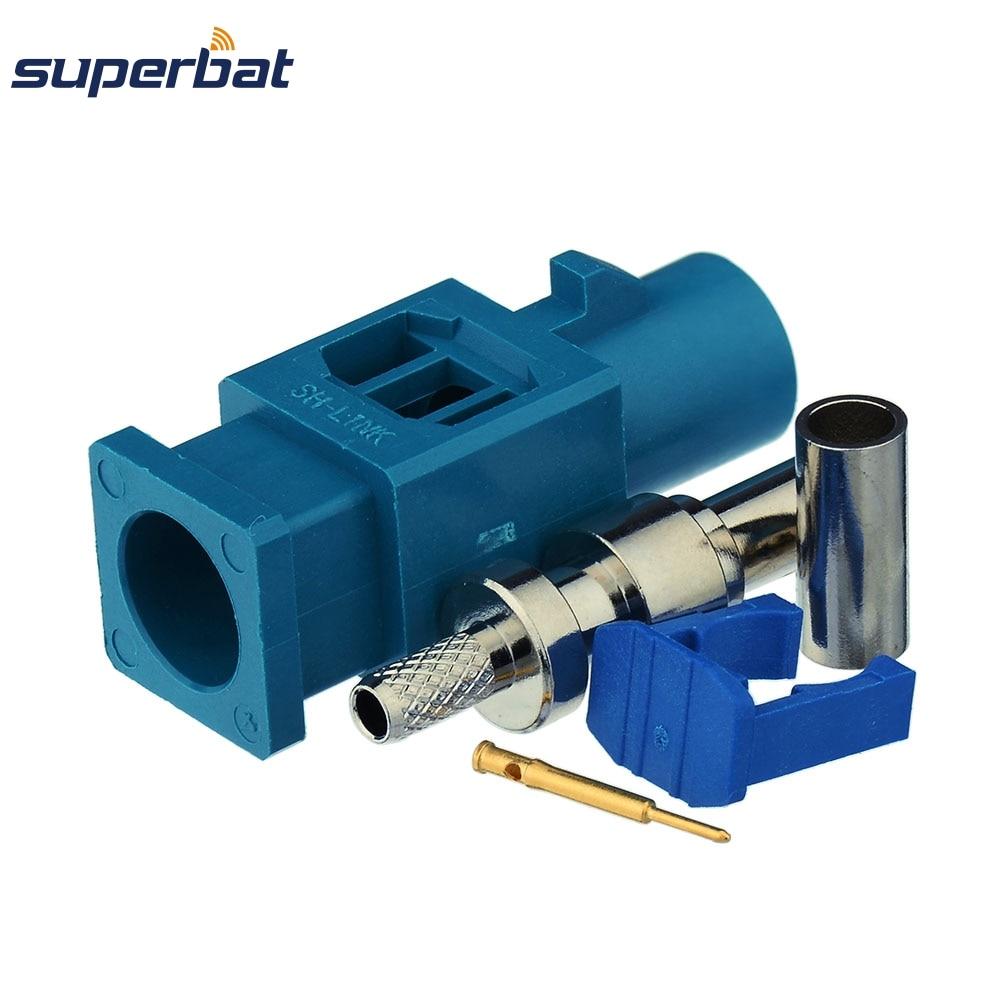 Superbat 10pcs Fakra Waterblue /5021 Neutral Coding Crimp Plug Male Long RF Coaxial Connector