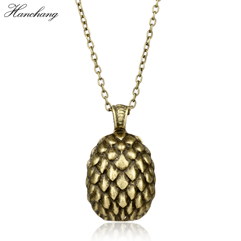 HANCHANG Halloween Christmas Necklace For Women Men Game of throne Dragon Egg Necklace Ice and Fire Song Fashion Cosplay Party